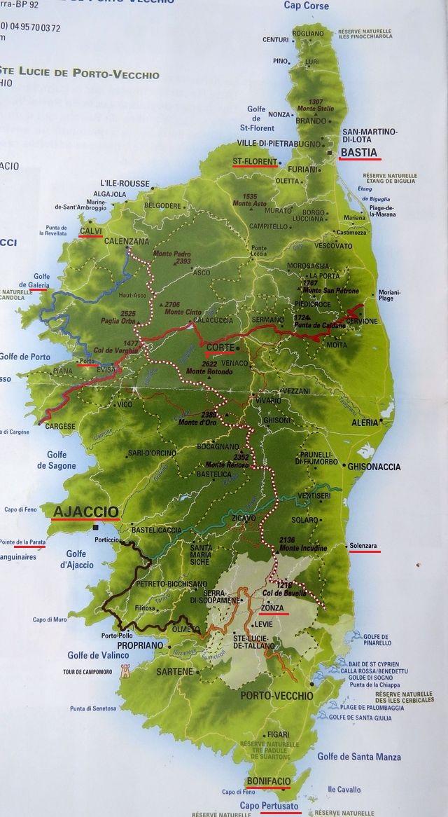 na mapce ostrova jsou vyznačena některá místa, kde jsme pobývali