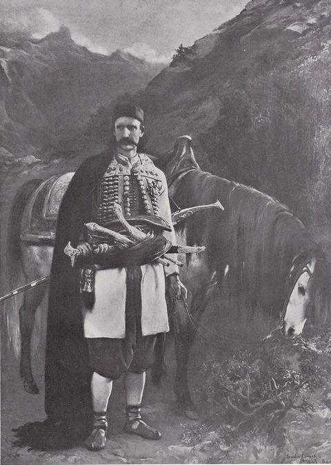 Černohorský glavar s koněm, Jaroslav Čermák, olej 1865
