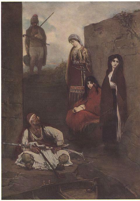 Zajatkyně, Jaroslav Čermák, olej 1870