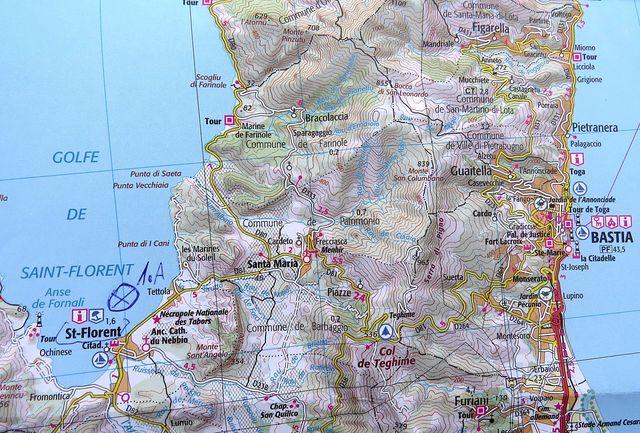 mapka severu Korsiky - z Bastie do Saint Florent je asi 24 km - 18.7.2015