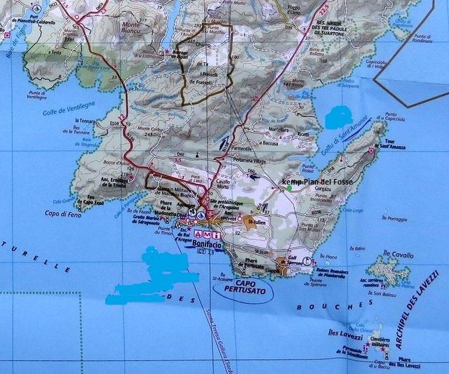 mapka nejjižnější části Korsiky - Bonifacio a mys Pertusato