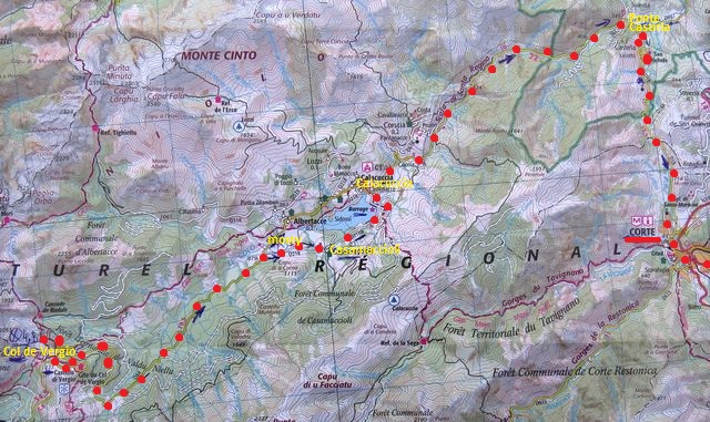 trasa ze sedla Col de Vergio přes soutěsku u Calacuccia do Corte 22.7.2015