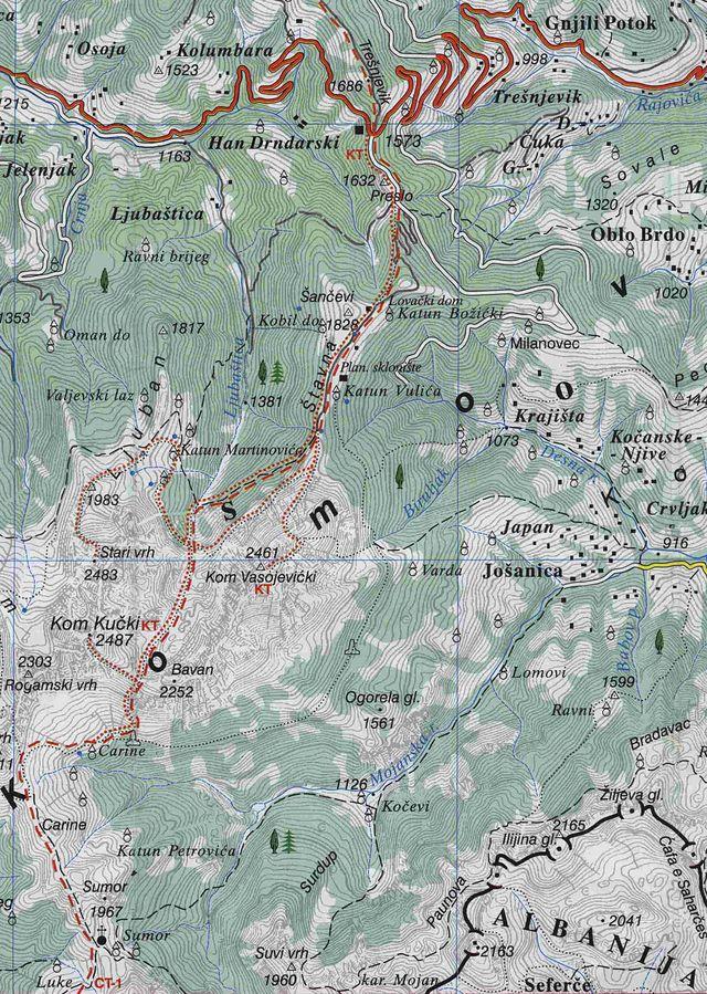 sedlo Trešnjevik a pohoří Komovi