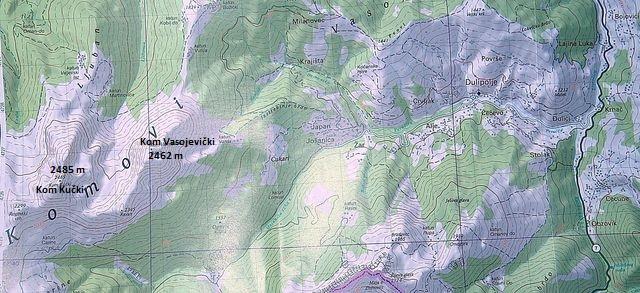 Komovi - výřez z mapy