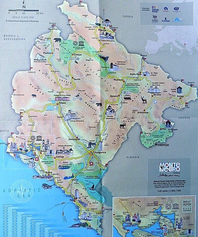 mapka Černé Hory