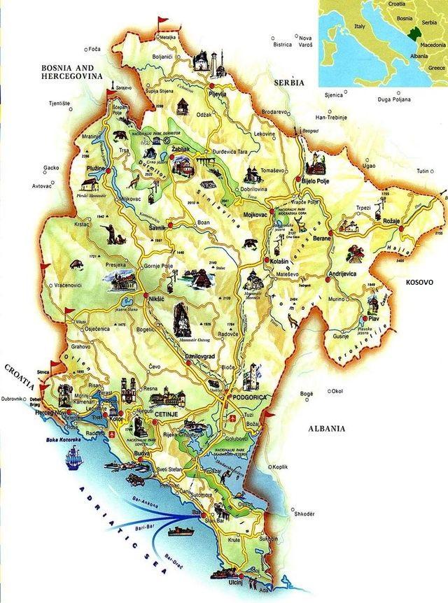 mapka Černé Hory z webu Montenegromap.net