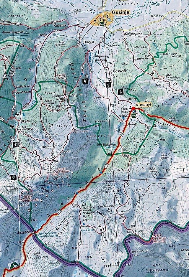 údolím Ropojana kolem Grla a Oka Skakavice k hranicím s Albánií a zpět, pak stezkou pod masivem Vezírova brada k Alipašovým pramenům a do Gusinje 11.8.2015
