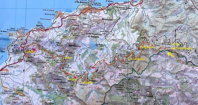 trase ze sedla Col de San Colombano přes Cateri do Lumia 19.7.2015