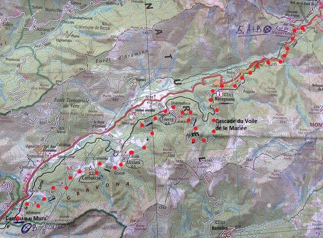 trasa ze sedla Col de Vizzavona přes Bocognano a vodopád do Campu a u Muru 24.7.2015