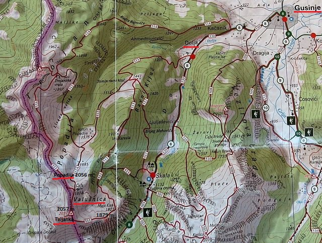 mapka oblasti nad údolím Grbaje - Volušnica, Taljanka, Popadija 9.8.2015