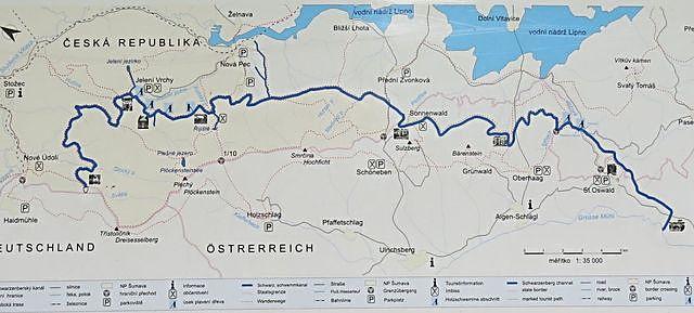 mapka průběhu kanálu od Rosenauerovy nádržky po řeku Große Mühl