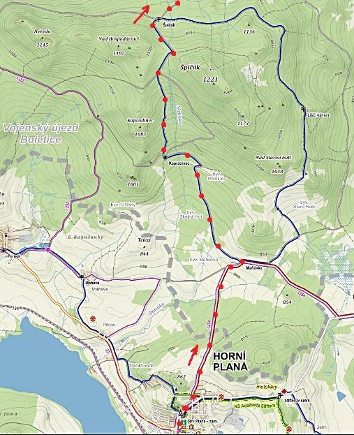 trasa z Horní Plané přes Maňávku a Kapradinec na rozcestí Špičák - 1. část etapy 22.8.2015