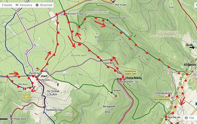 trasa z Vlčí hory k rozcestí Pod vrchem Tří pánů k Dušanově vyhlídce a zpět, pak Domaslavickým údolím do Háje - 1. část 29.8.2015
