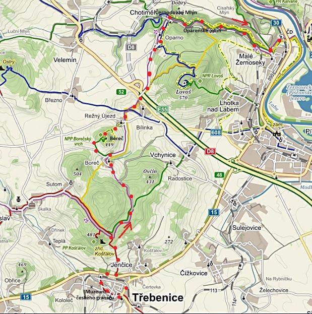 pěší výlet z Třebenic přes jrad Košťál na Boreč, do Opárna a údolím do Malých Žernosek 28.8.2015