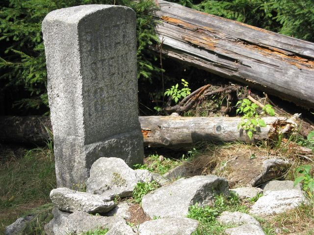 Medvědí kámen stojí v místě, kde byla v roce 1856 zastřelena poslední šumavská medvědice; foto Míla Bradová
