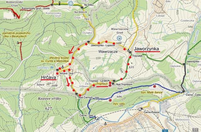 trasa z Hrčavy na Trojmezí, pak přes Jaworzynku zpět do Hrčavy 27.9.2015