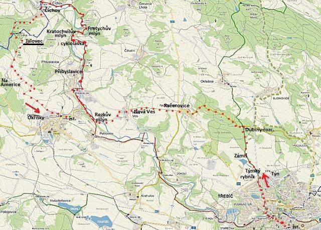trasa z Třebíče přes Račerovice a Přibyslavice do Číchova a na Jalovec, pak do Okříšek na vlak 12.9.2015