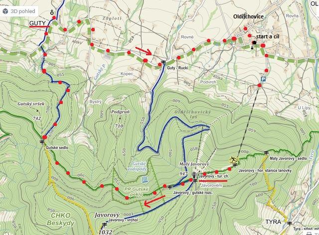 trasa z Javorového vrchu přes Gutské sedlo, do vsi Guty a pak do Oldřichovic 29.9.2015