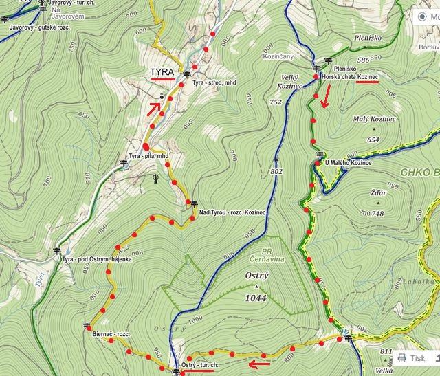 trasa od chaty Kozinec na chatu Ostrý a dolů do Tyry 28.9.2015
