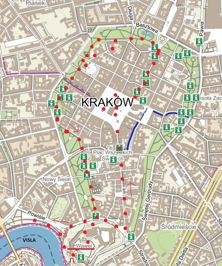 centrum Krakova a trasa naší vycházky