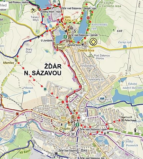 vycházka z centra Žďáru k Mamlasovi a kolem Jordánku na NS kolem Zelené hory, pak zpět do města 24.10.2015