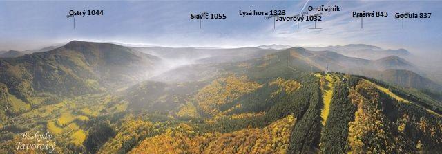 pohlednice s vrcholy Moravskoslezských Beskyd