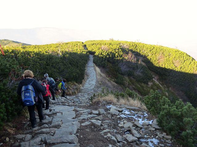 sestup do sedla Brona (Brána) ve výšce 1 408 m