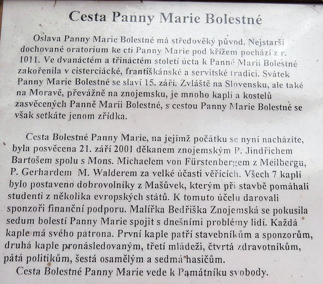 informace o kapličkách s obrazy Bedřišky Znojemské