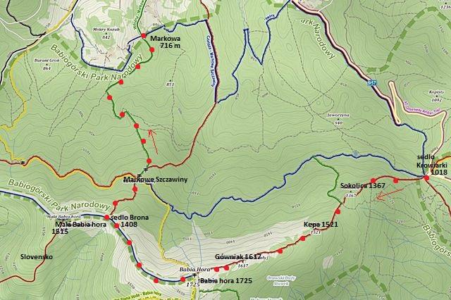 trasa ze sedla Krowiarki přes Sokolicu a Gówniak na Babí horu, ze sedla Brona (Brána) do střediska Markowa 30.10.2015