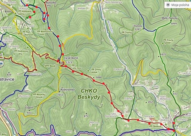 výstup z Visalají na Lysou horu a sestup k zotavovně Petr Bezruč 1.11.2015