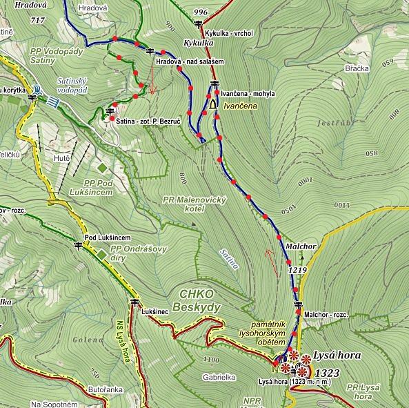 sestup z Lysé hory přes Ivančenu na Satinu k zotavovně Petr Bezruč 1.11.2015