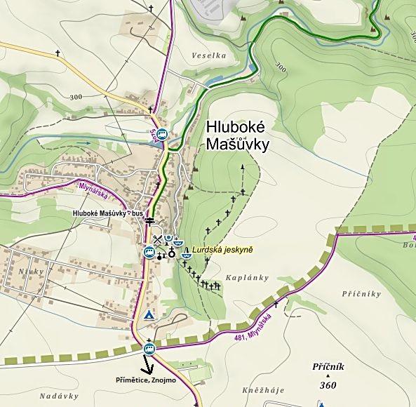 Hluboké Mašůvky - poutní areál v údolí Svatoňovec