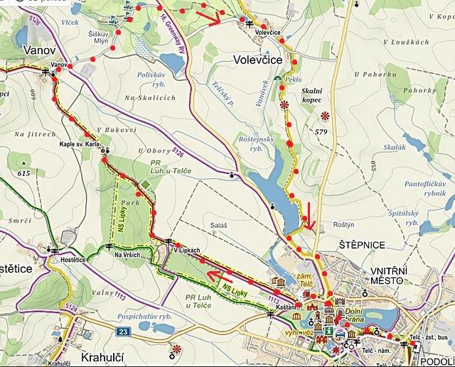 trasa vycházky okolím Telče: Telč - Vanov - Šiškův mlýn - Volevčice - Telč 7.11.2015