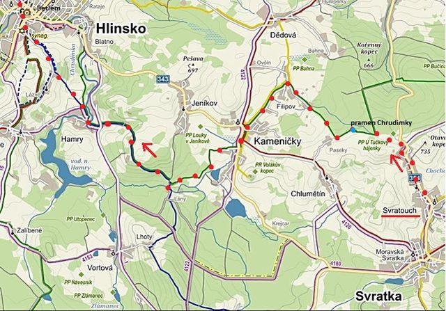 trasa ze Svratouchu k Filipovskému prameni Chrudimky, přes Kameničky a Lány do Hlinska 30.12.2015