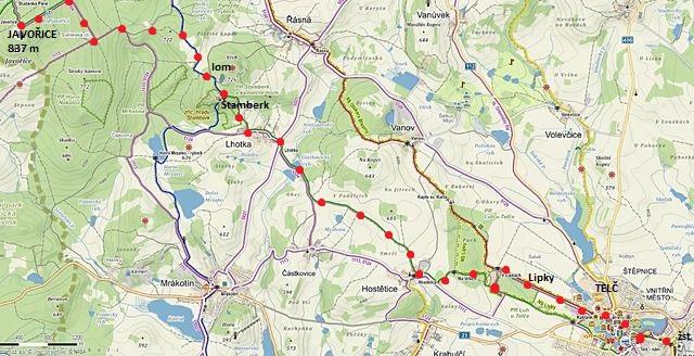 trasa z Javořice přes Štamberk do Telče 13.2.2016