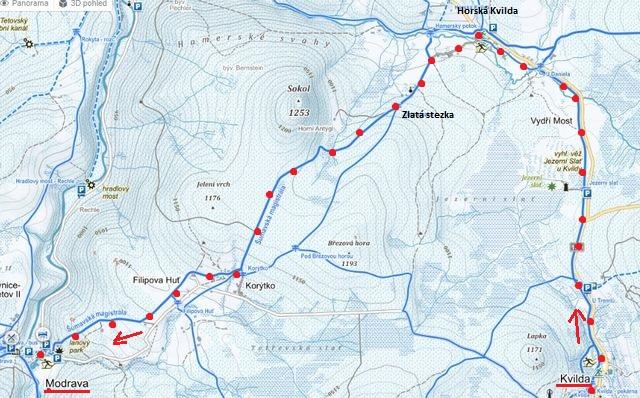 trasa z Kvildy na Horskou Kvildu, Filipovu Huť, do Modravy 28.1.2016