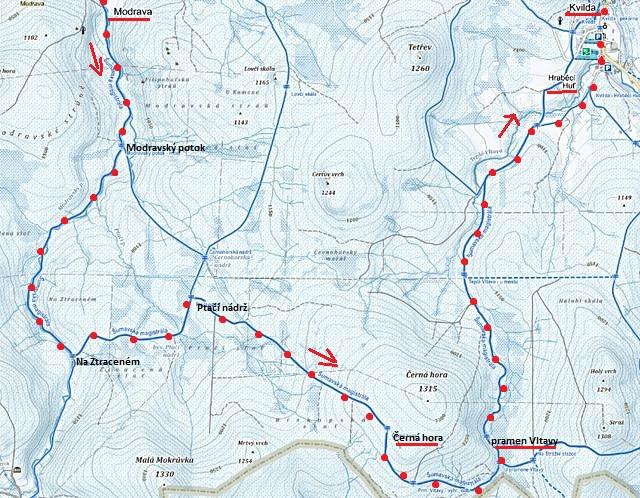 trasa z Modravy na Černou horu, k pramenům Vltavy, pak do Kvildy 31.1.2016