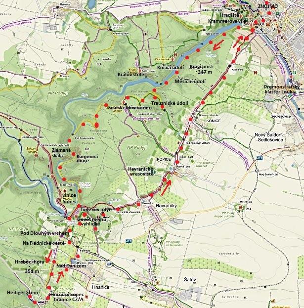 pochod Znojmo - Sealsfieldův kámen - Heiliger Stein - Popice - Kraví hora - Znojmo 14.11.2015