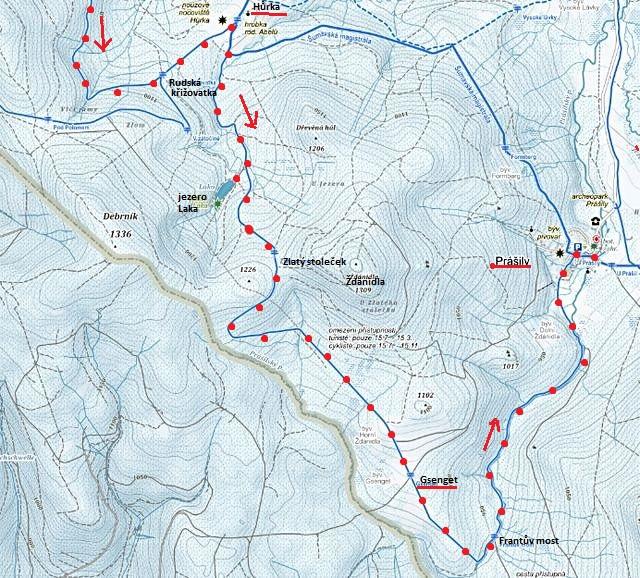 trasa z Rudské křižovatky na Hůrku, k jezeru Laka, Zlatý stoleček, Gsenget, Frantův most do Prášil - 2. část, 30.1.2016
