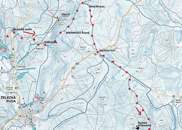 trasa ze Špičáckého sedla přes Hofmanky, Nový Brunst na Gerlovu Huť, dále na Rudskou křižovatku - 1. část, 30.1.2016