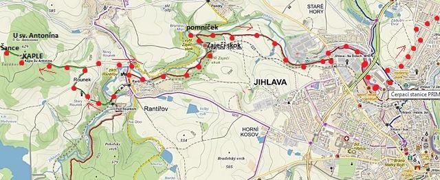 vycházka na Rounku, pak po červené značce přes Zaječí skok do Jihlavy 14.2.2016