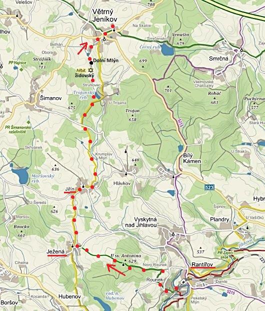 trasa z Rounku do Ježené a Jiřína, pak do Větrného Jeníkova 28.12.2015