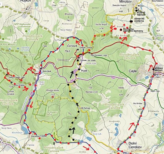 trasa Čeřínek - Čertův hrádek - Dolní Cerekev - Cejle - nad Mirošovem - Čeřínek 19.3.2016