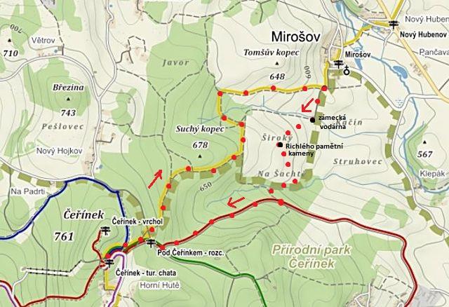 trasa Čeřínek - Mirošov - Čeřínek 19.3.2016
