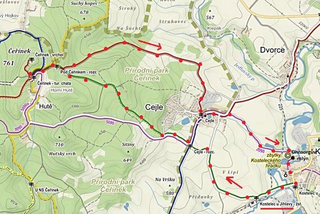trasa Kostelec - Čeřínek - Ohnsorgův mlýn - Kostelec 19.3.2016