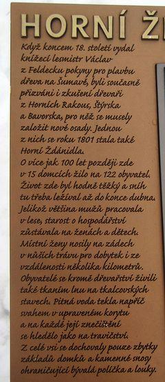 informační tabule na místě, kde bývala ves Horní Ždánidla