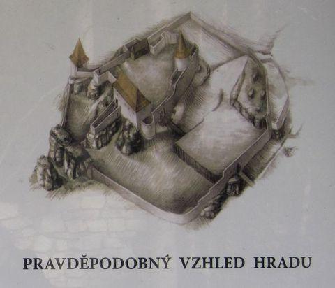 kresba historického hradu Štamberk