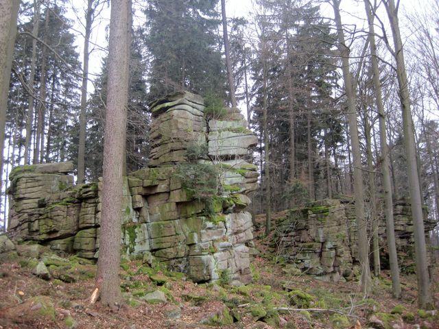 okolní les je čerstvě vyčištěn - focení skalisek je snadnější