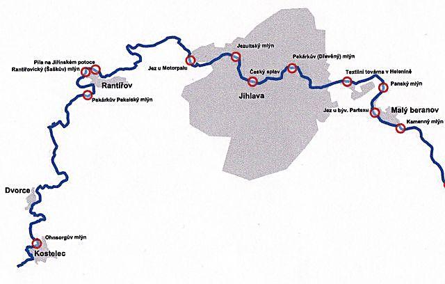 zákres mlýnů na řece Jihlavě