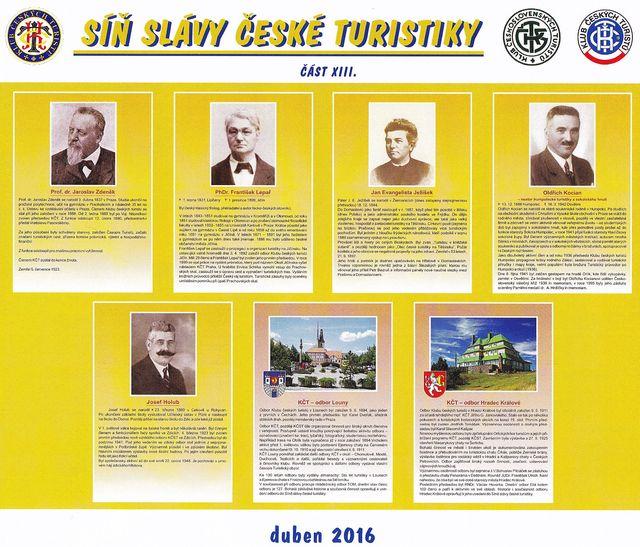 panel s osobnostmi a odbory KČT uvedenými v roce 2016 do Síně slávy české turistiky